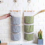 Wall Hanging Storage Bag 3 Pockets Cotton Fabric Closet Organizer Sundries Storage Pocket Home Decor Hanging Bag