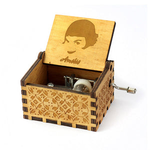 Anonymity Antique Carved wooden hand crank Harry Potter Music Box Christmas gift birthday Gift Party Supply free gifts bracelet