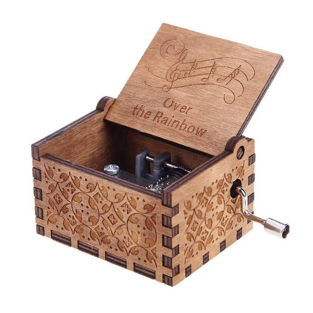 Antique Carved Wooden Music Box Small Star Hand Crank Theme Music Box for Chirstmas Happy Birthday New Year Gifts