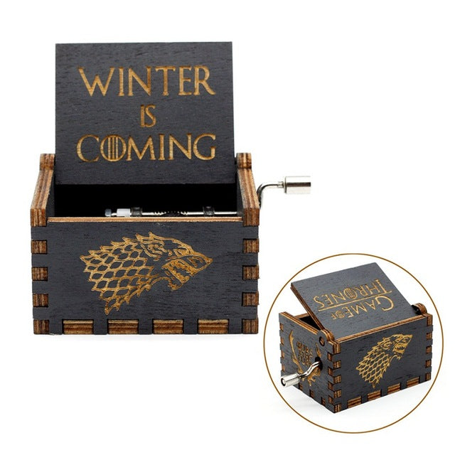 Antique Carved Music Box game of thrones harry potter Star Wars Wooden Hand Crank Theme