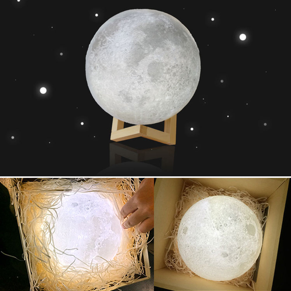 3D Moon Lamp USB LED Night Light Lunar Moonlight Touch Sensor 2 Color Changing Bedroom Christmas Home Decoration Moon Light