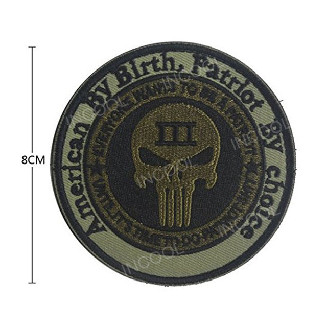 Embroidery Patch US American By Birth Patriot By Choice Skull Tactical Military Morale Patches Emblem Applique Embroidered Badge