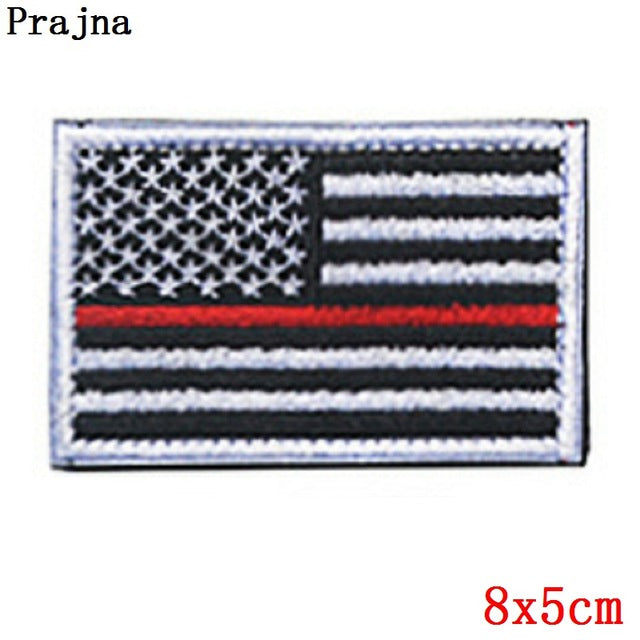 Prajna American Country Flag Patches Patriotic Fastener Morale Tactical Patches Military Loop And Hook DIY Stripe On Clothes D