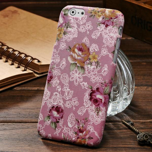 Fabrics Colorful Hard Case For iPhone 6 6s Flower Cloth Mobile Phone Cover Case For iPhone6 Drop Ship