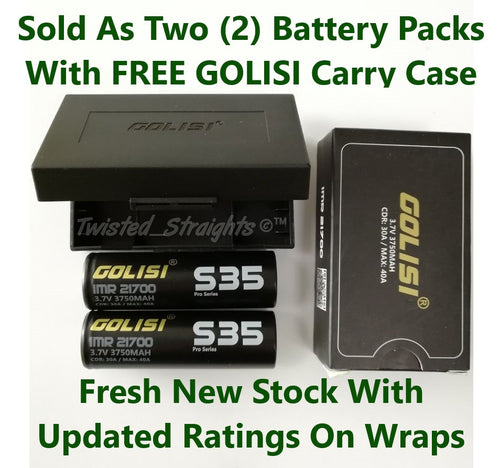 Golisi IMR S35 Pro-Series 21700 3750mAh CDR:30A / Max 40A Battery (2 Pack)