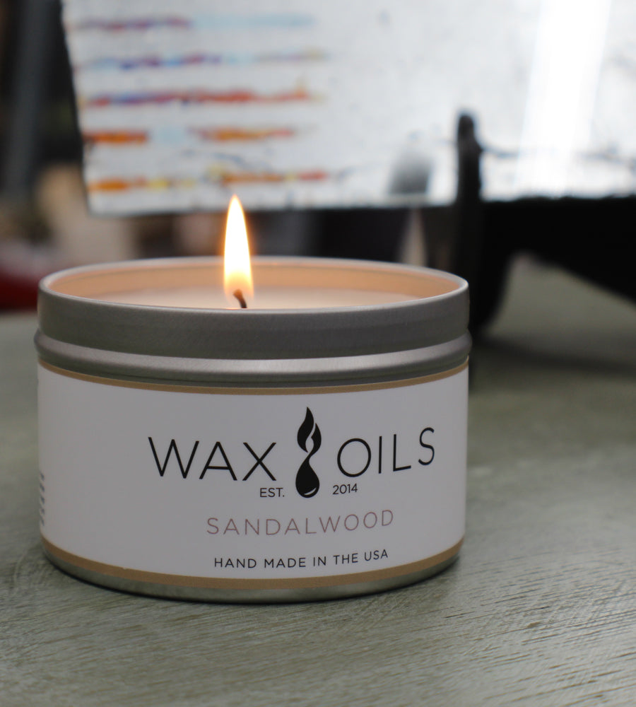 sandalwood candle by wax and oils