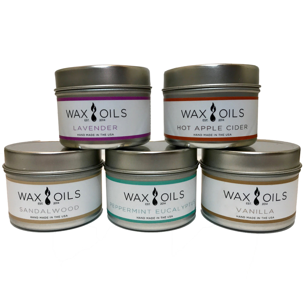 wax and oils scented candles 5 pack 2oz size custom