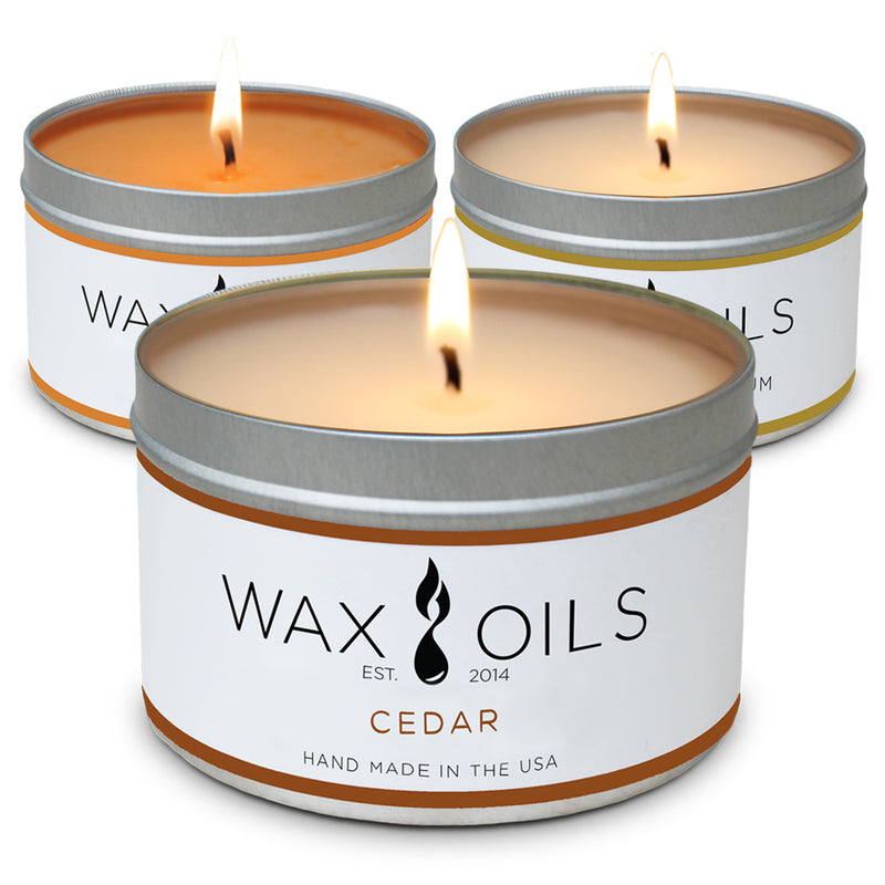 wax and oils scented candles 3 pack cedar pumpkin plum