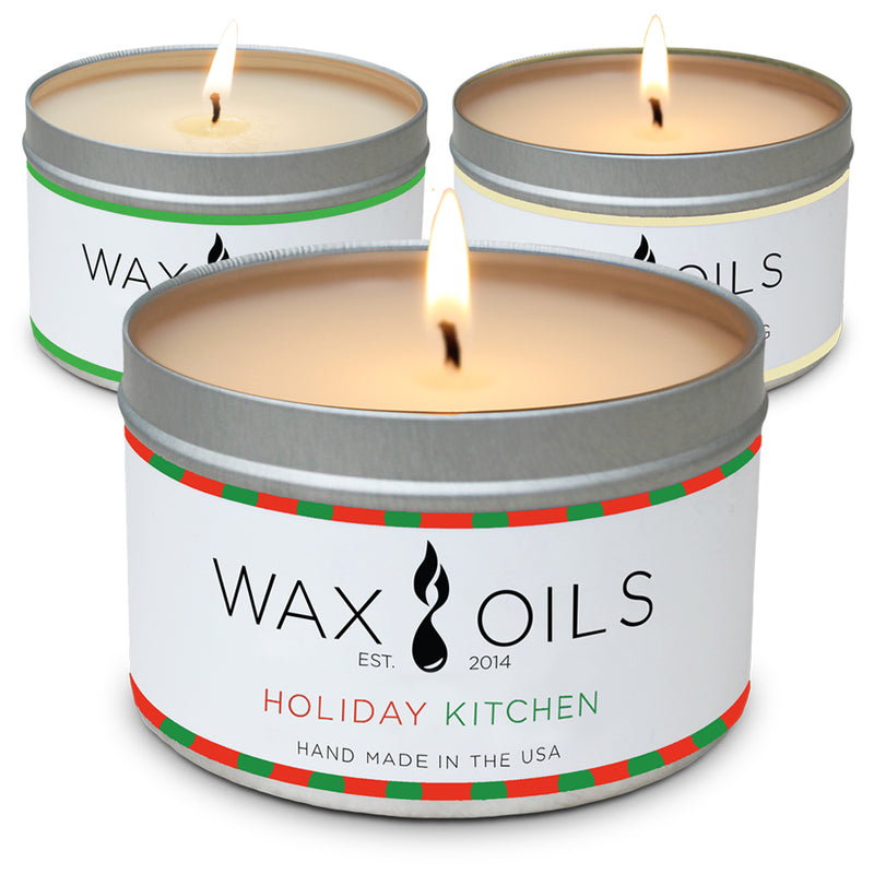 wax and oils scented candles 3 pack evergreen egg nog