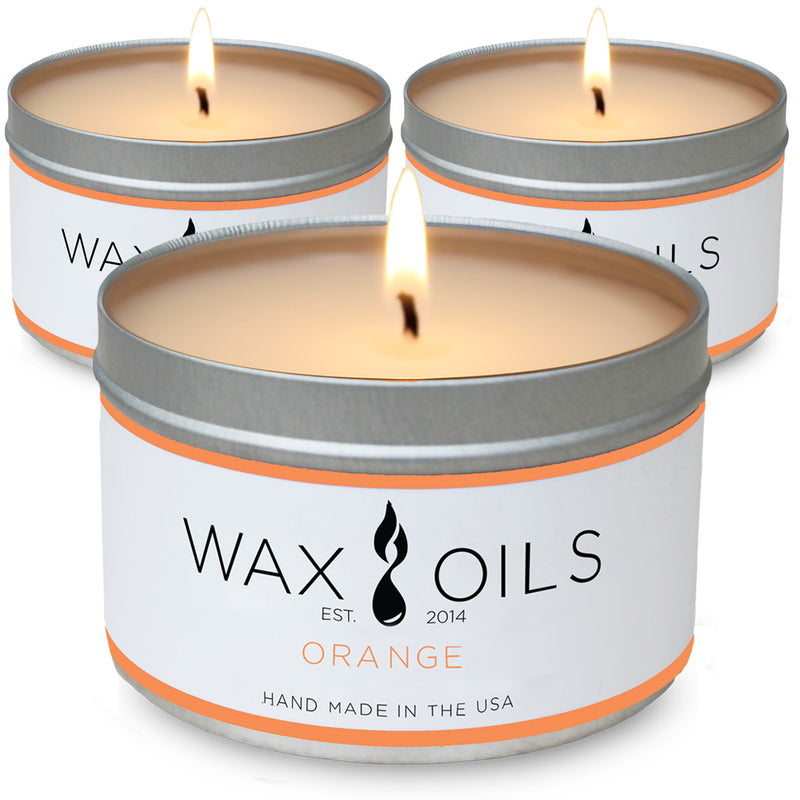 wax and oils scented candles 3 pack orange