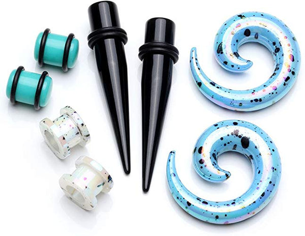 D.Bella 8pcs 14G-00G Stainless Steel Tapers and Tunnels Ear Single-Flared Tunnel Gauge Ear Stretching Kit Silver Balck Rainbow