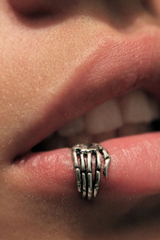 skeleton claw hand labret lip ring