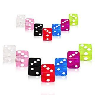 Body Jewelry Parts 10pcs UV Coated Acrylic Dice Ball Package -Rebel Bod-RebelBod