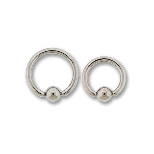 12G High Polish Titanium Captive Bead Ring - 1 Piece