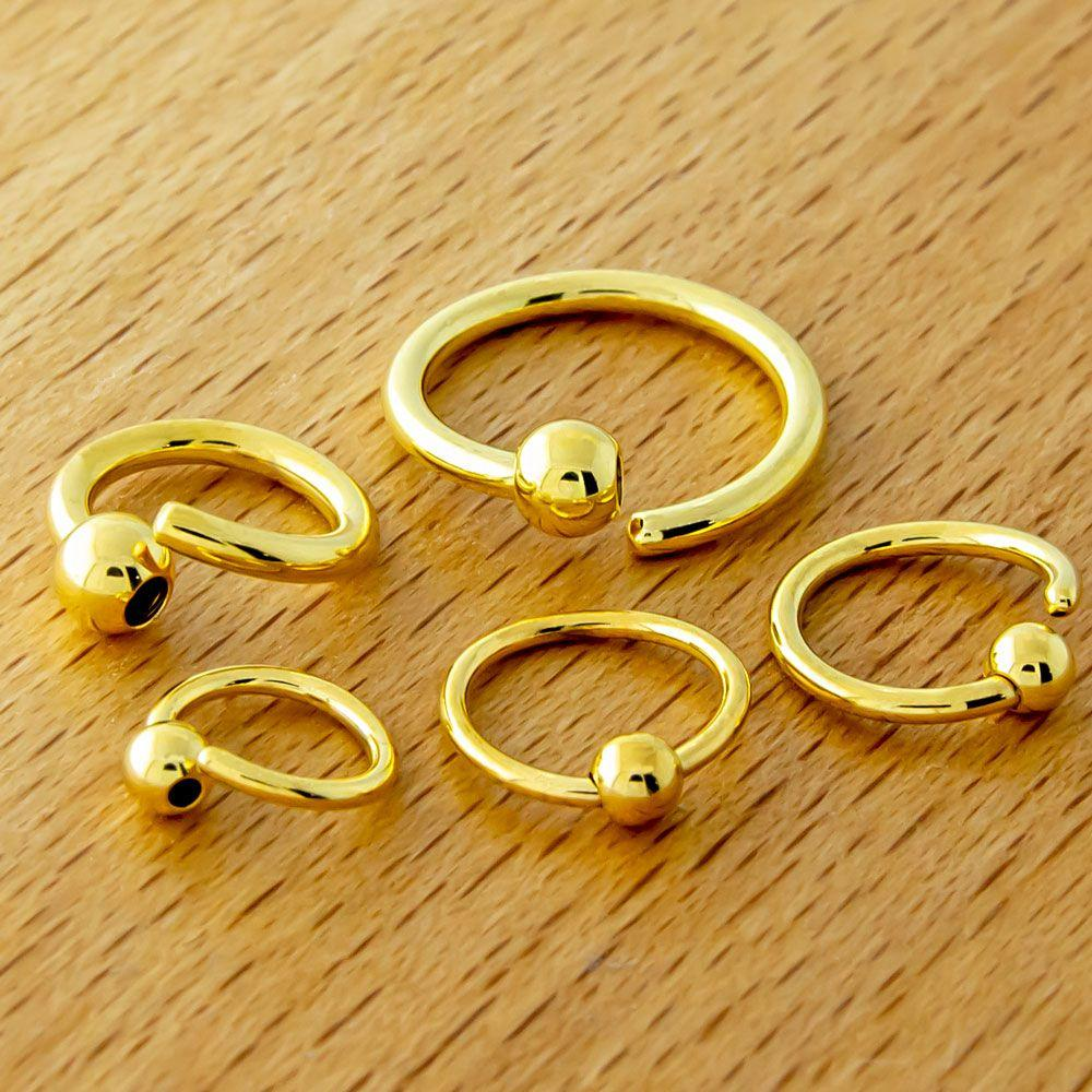 14g, 16g, 18g & 20g Gold Pvd Fixed Bead Captive Ring - 1 Piece -Rebel Bod-RebelBod
