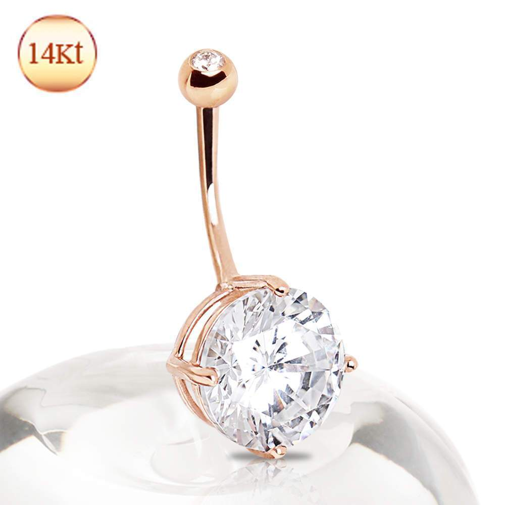 14K Rose Gold Navel Ring with Large Clear Round Prong Set CZ