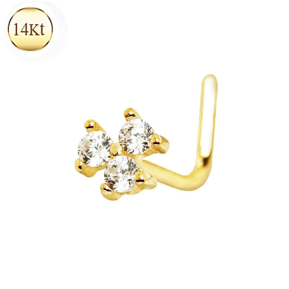 14K Yellow Gold Clear CZ Flower L-Bend Nose Ring