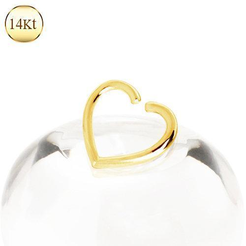 14K Yellow Gold Heart Shaped Cartilage Earring - 1 Piece