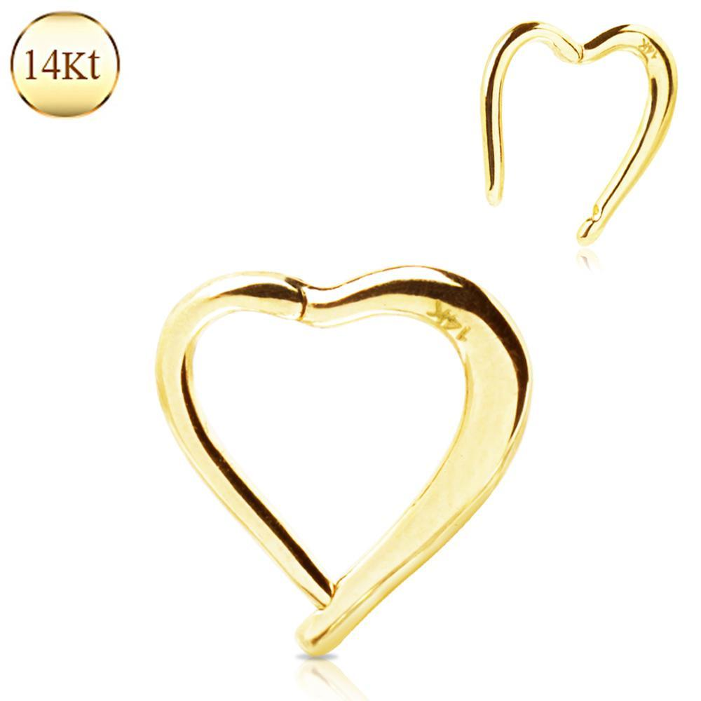 SEAMLESS CLICKER/Nose Ring/Belly Button Rings/Tragus Jewelry/Septum Rings/Daith 14K Yellow Gold Lovely Heart Seamless Clicker Ring -Rebel Bod-RebelBod