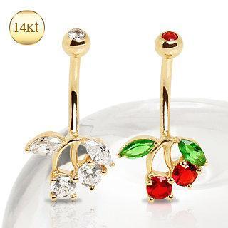 14K Yellow Gold Navel Ring with Cherry