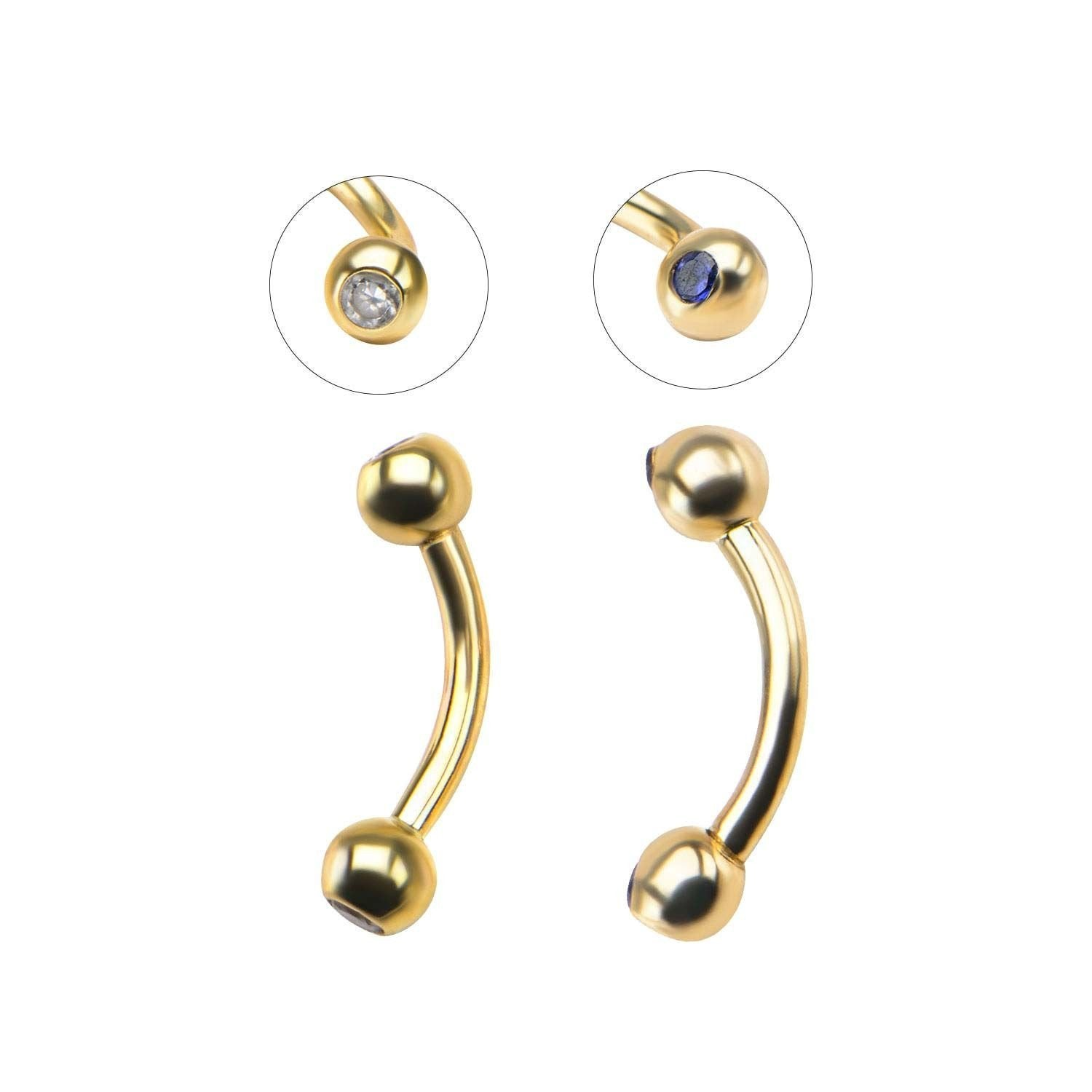 14K Solid GOLD Gem Ball CURVED BENT Barbell Eyebrow Ear Rook RINGS Stud Piercing