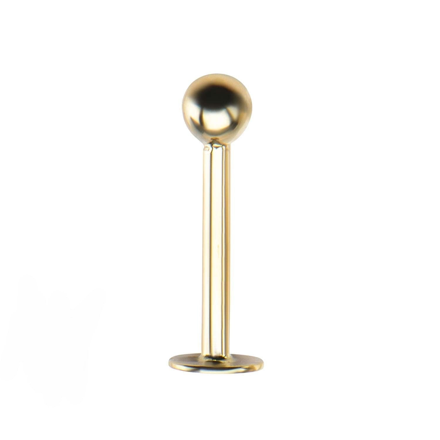 Lip Piercing/Labret/Labret Piercing/Lip Piercing Jewelry/Labret Jewelry/Labret Studs 14kt Gold Labret with Ball Top sbvgl611 -Rebel Bod-RebelBod