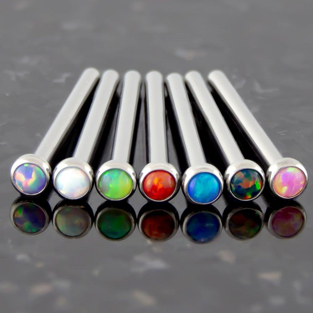 Nose Ring - Nose Pin 16g, 18g & 20g Titanium Bezel Set Opal Nose Pins - 1 Piece -Rebel Bod-RebelBod