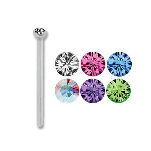 16G 5/8 Titanium Nose Pin Bezel Set 23mm Gem - 1 Piece