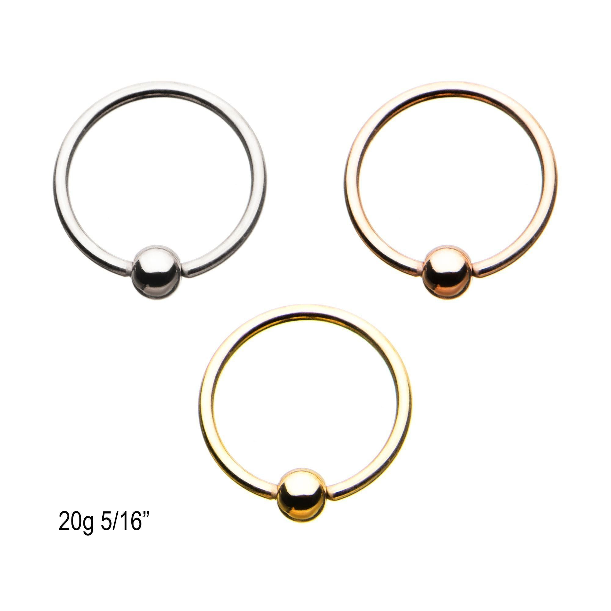 20g 5 16 Surgical Steel Attach Ball Ring Captive Bead Rings