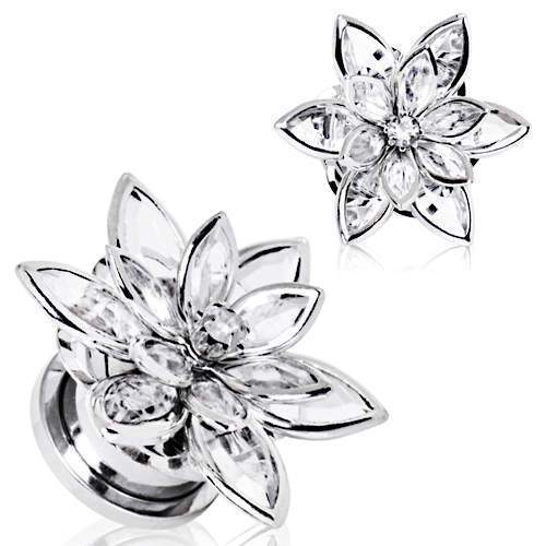 316L Stainless Steel Crystal Flower Screw Fit Plug - 1 Piece