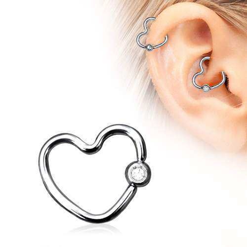 316L Stainless Steel Heart Daith / Helix Earring with Clear CZ - 1 Piece