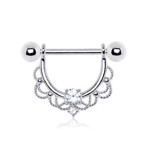 316L Stainless Steel Made For Royalty Ornate Nipple Ring - 1 Piece
