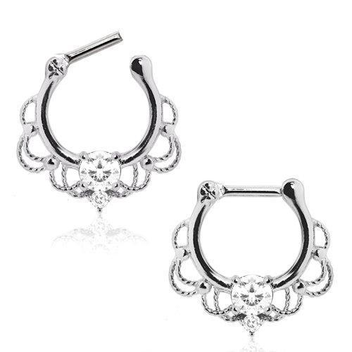316L Stainless Steel Made For Royalty Ornate Septum Clicker / Daith Clicker - 1 Piece