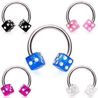 316L Surgical Steel Horse Shoes Circular Barbell with UV Dice Balls
