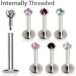 316L Surgical Steel Internally Threaded Labret with Prong Set Round Gem Top
