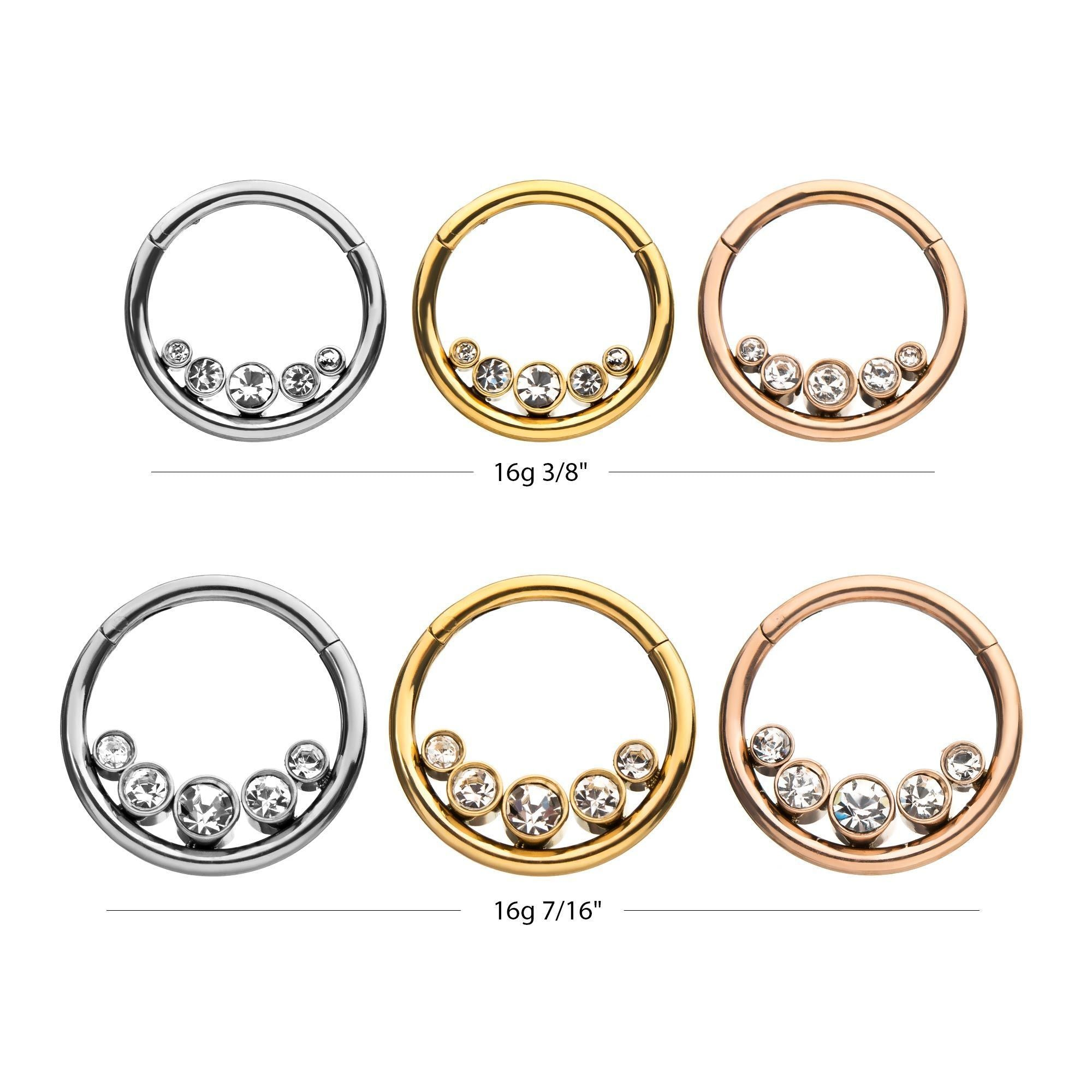 Stainless Steel Body Jewelry Fake Expander with Clear CZ /& O-Rings 16g