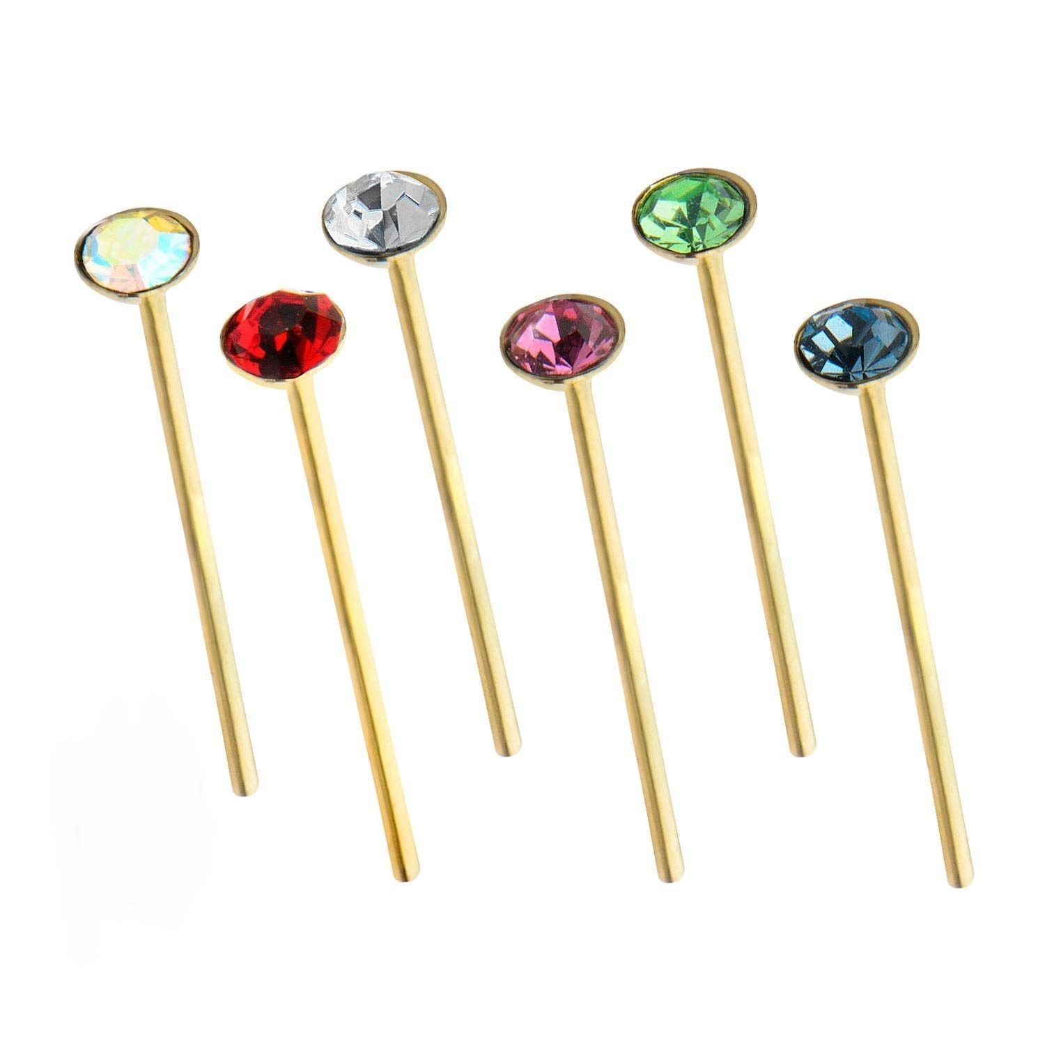 Nose Ring - Nose Pin 9kt Gold 20g Press Fit CZ Bend To Fit Nose Pin sbvgns140 -Rebel Bod-RebelBod