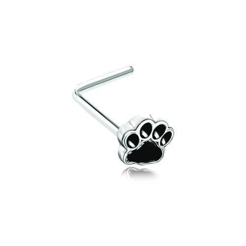 Animal Lover Paw Print L-Shape Nose Ring