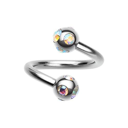 Aurora Borealis Aurora Gem Ball Steel Twist Spiral Ring