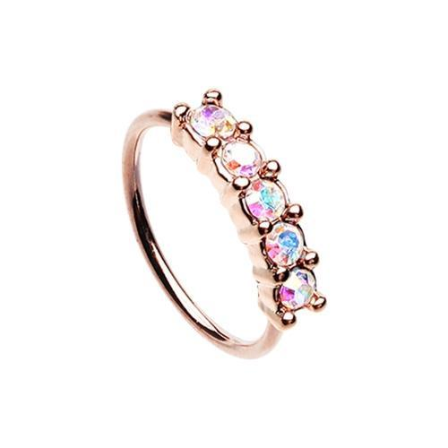 Nose Piercing/Nose Jewelry/Nose Rings/Nose Ring/Nose Studs Aurora Borealis Rose Gold Iridescent Seamless Prong set 5 Gem Bendable Nose Hoop -Rebel Bod-RebelBod