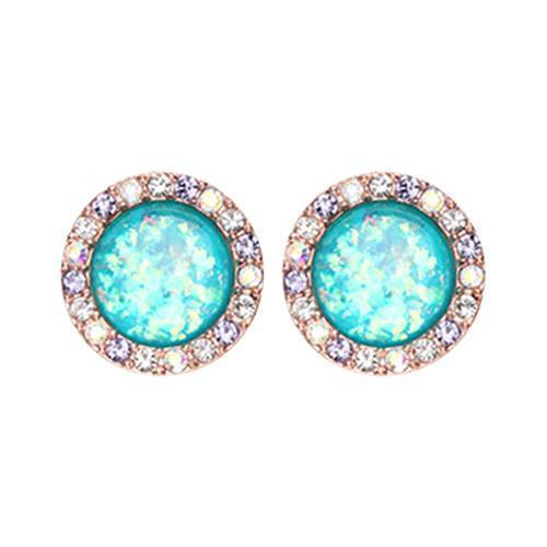 Aurora Borealis/Tanzanite/Teal Rose Gold Round Crown Opal Jeweled Combo Ear Stud Earrings - 1 Pair