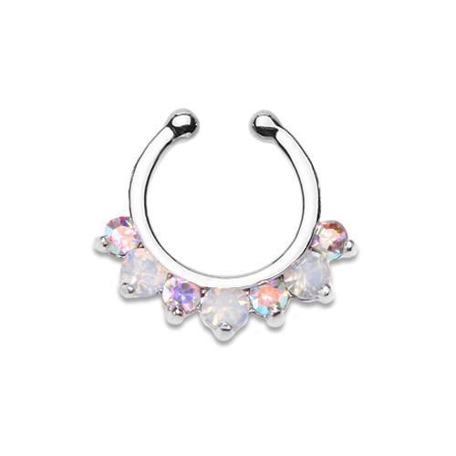 Aurora Borealis/White Prong Opal Gem Precia Fake Septum Clip-On Ring