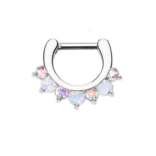 Aurora Borealis/White Prong Opal Gem Precia Septum Clicker / Daith Clicker - 1 Piece