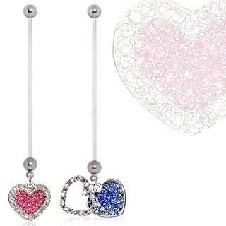 BioFlex Double Layered Heart Dangle Pregnancy Navel Ring