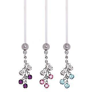 BioFlex Pregnancy Navel Ring with CZ Vine Dangle