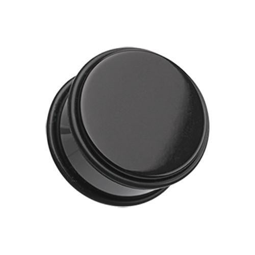 Black Basic Acrylic No Flare Ear Gauge Plug - 1 Pair