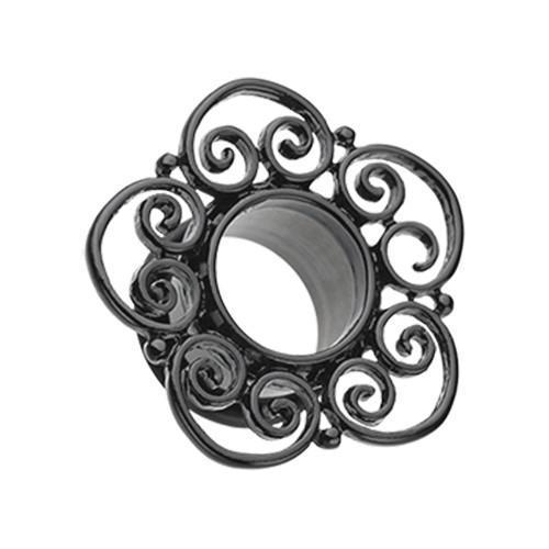 Black Blackline Floral Filigree Single Flared Tunnel Plug - 1 Pair