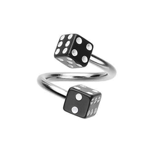 Black Double Dice Acrylic Twist Spiral Ring
