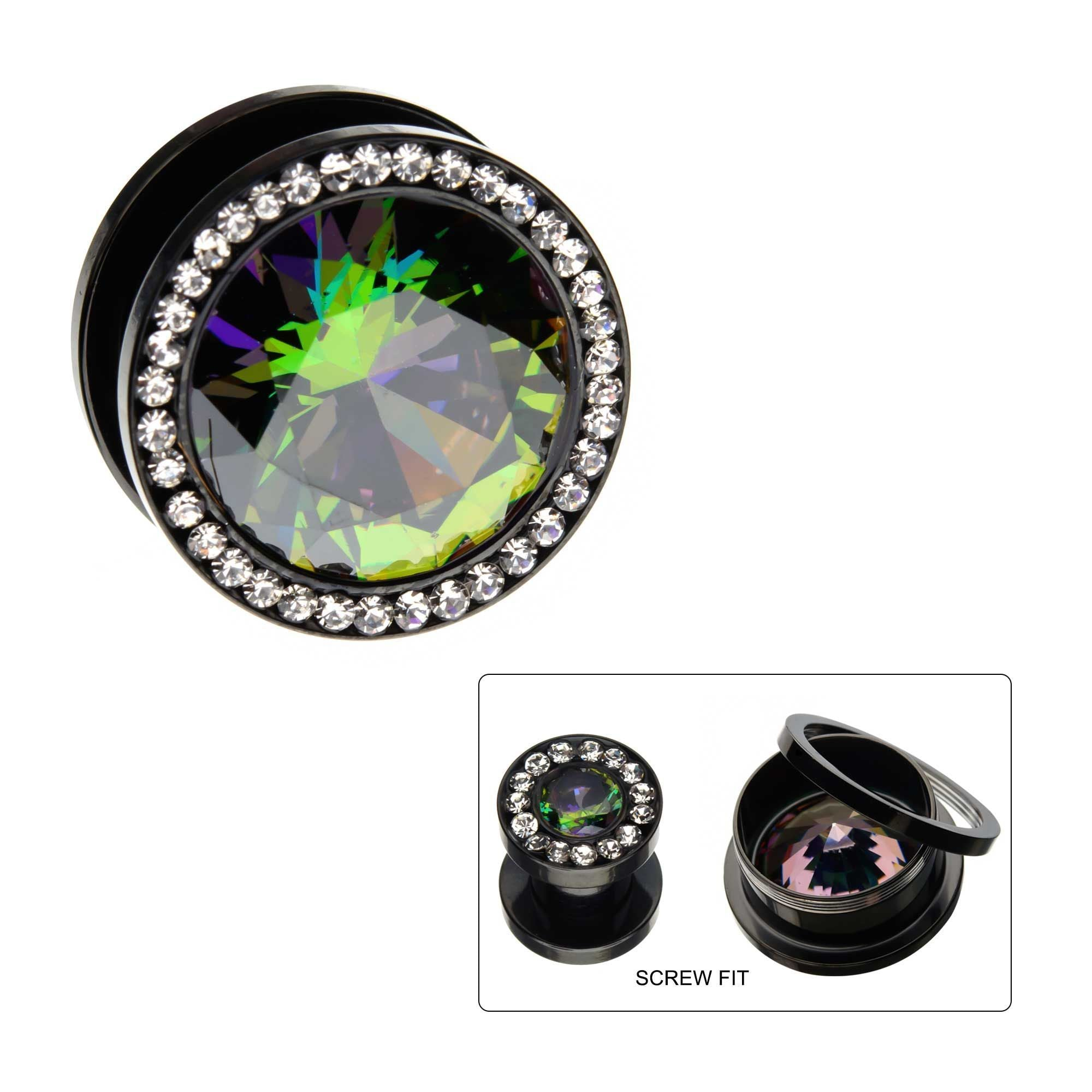 Ear Gauges/Gauge Earrings/Plugs Earrings - Double Flare Black Plated Vitrail Medium and Clear CZ Gem Screw Fit Plugs - 1 Pair  sbvpsgm4kwc -Rebel Bod-RebelBod
