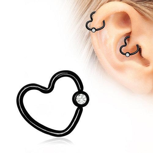 Black PVD Plated Heart Daith / Helix Earring with Clear CZ - 1 Piece